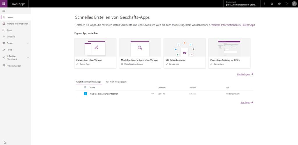 Microsoft PowerApps Homescreen